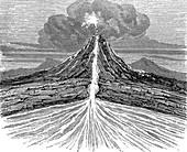 Volcano section,19th century artwork