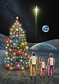 Christmas on the Moon,space art