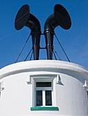 Fog horns on lighthouse