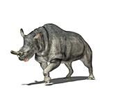 Brontotherium dinosaur,computer artwork