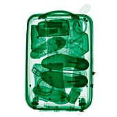 Wheeled suitcase,coloured X-ray