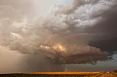 Hailstorm over fields,USA
