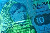 Ten pound Scottish banknote in UV