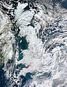Snow-covered United Kingdom,January 2010