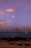 Stars and jupiter in a night sky