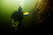 Diver with video submarine