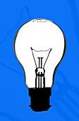 Tungsten filament light bulb