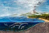 Plesiosaurs and erupting volcano,artwork