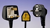 UK,US and European mains plugs