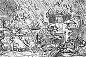Raining cats and dogs,1817 caricature