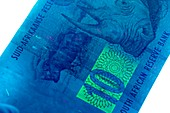 South African banknote in UV light