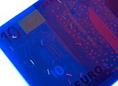 Euro banknote in UV light