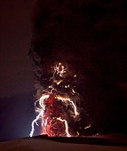 Volcanic lightning,Iceland,April 2010