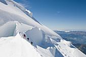 Climbers on Mont Blanc Du Tacul