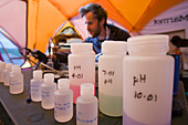 Scientist testing glacial water samples