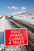 A road closed sign in winter,UK