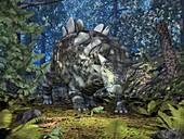 Crichtonsaurus and frogs,artwork