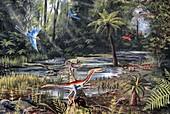 Cretaceous life,artwork