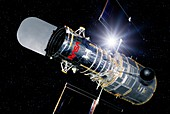Hubble Space Telescope in orbit,artwork