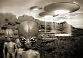 Alien contact in the 1940s,artwork