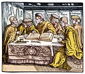 Humanist scholars in debate,16th century