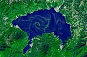 Lake Atitlan algal bloom,satellite image