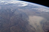 Dust storm,central Asia,ISS image