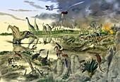 Prehistoric wildlife,artwork