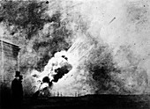 Test firing a mortar,19th century