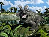 Estemmenosuchus,artwork