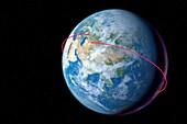 Gagarin's orbit in Vostok 1,1961