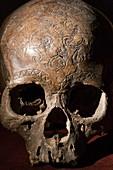 19th C. Carved Kayan dayak skull trophy