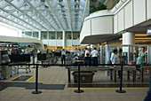 Security area at Orlando airport Florida