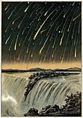 Leonid meteor shower of 1833,artwork