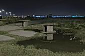 Brownfield land at night
