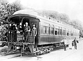 Henry M. Stanley and others on a train