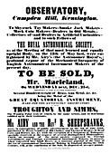 19th Century observatory sale advert