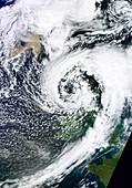 British Isles storm and ash plume,2011