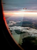 UFOs scanning an aircraft