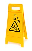 Snow hazard warning sign