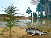 Prehistoric wetland life,artwork
