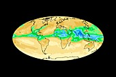 Global water vapour levels,July 2003