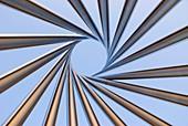Spiral metal sculpture at Fermilab