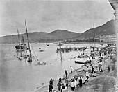 Typhoon damage,Hong Kong,19th century