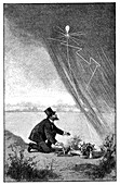 Artificial rain experiment,19th century
