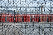 Propane canisters in secure compound