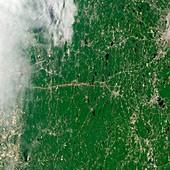 Tornado track,satellite image