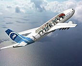 Zero-G Airbus aircraft,artwork