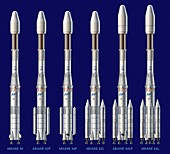 Ariane 4 rocket versions,artwork