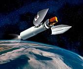 INTEGRAL satellite launch,artwork